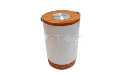 Dobíjecí LED stolní lampa 5 W se zabudovanou Powe bankou stmívatelní, imitace dřeva