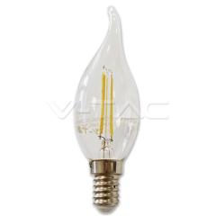 LED žárovka filament 2W E14 svíčka se špičkou, teplá bíla