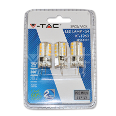 LED bodová žárovka G4 3W teplá bílá, silikon, blistr 3-pack