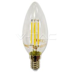 LED filament žárovka svíčka E14 4W teplá bílá stmívatelná
