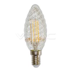 LED filament žárovka svíčka E14 TWIST teplá bílá stmívatelná