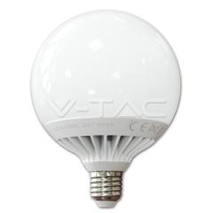LED žárovka E27 kulatá 120 mm 13 W teplá bílá plastová